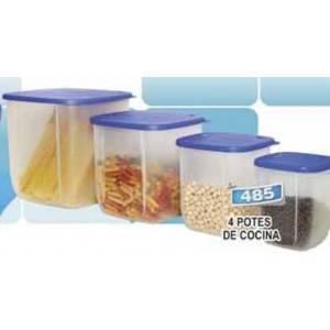 Juego de 4 potes de cocina plásticos Imusa