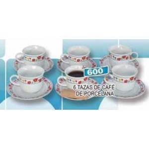 Set de 6 tazas de porcelana para café