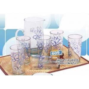 Jarra y 6 vasos Pabillon azul