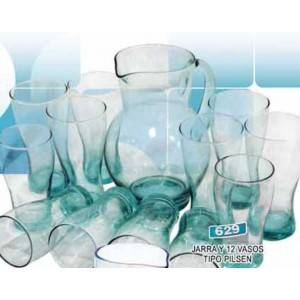 Jarra con 12 vasos tipo pilsen