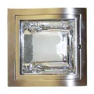 """Lampara Para Empotrar 6"""" para techo, cuadrada, satinada, C/vidrio esmerilado, de 2 bombillos, 2X13W, E-27, 110-130V"""