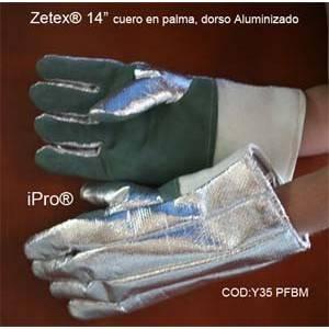 """Guante térmico Zetex , de 14"""", cuero en palma, dorso aluminizado"""