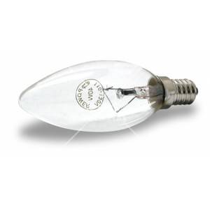 Bombillo tipo vela transparente rosca E14, 40 y 60 wattios
