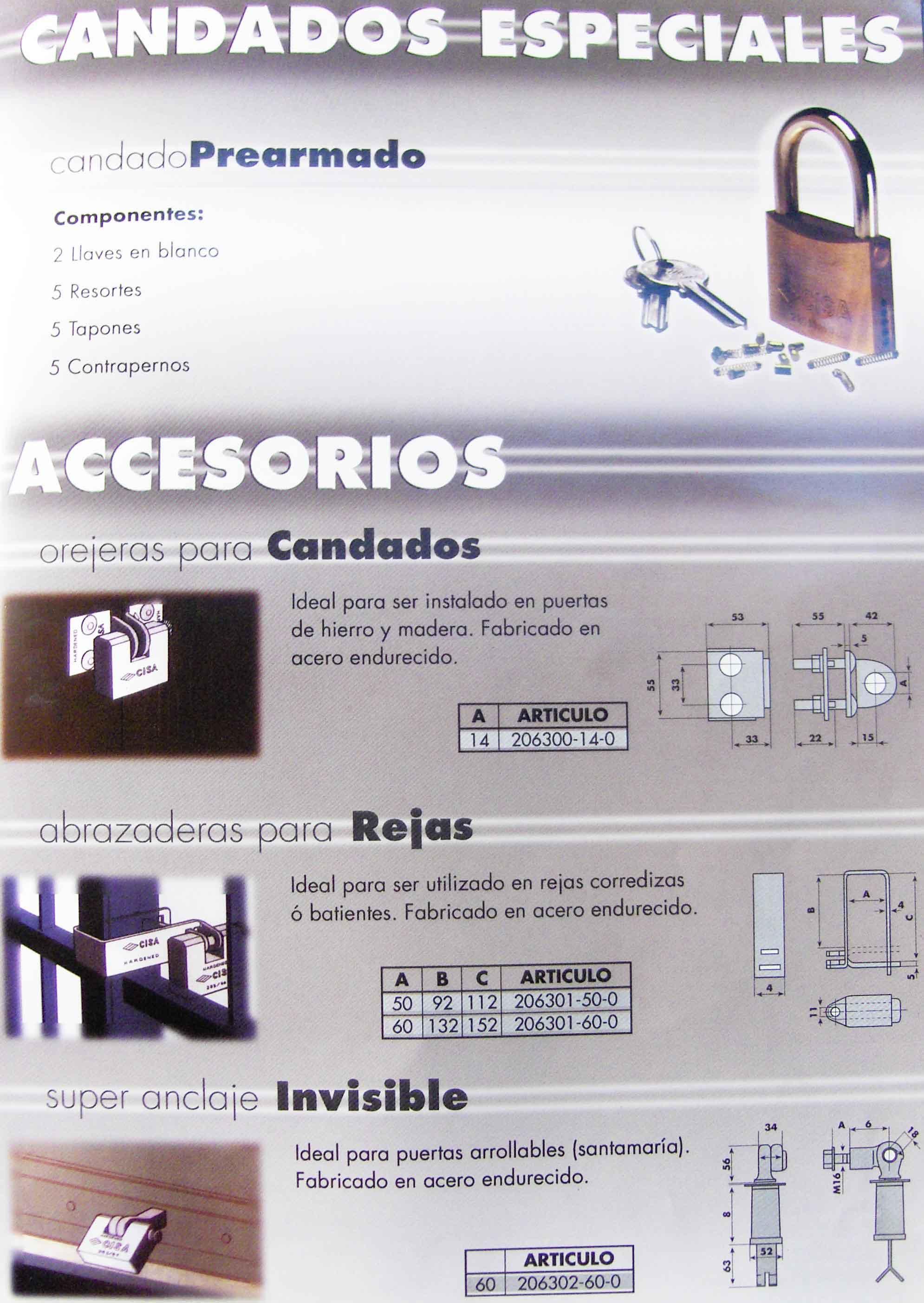 Candados cisa especiales y accesorios para candados