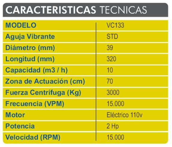 caracteristicas tecnicas de la vibrocompactadora VC113C